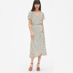 GAP Wrap Style Stripe Flutter Sleeve Midi Dress